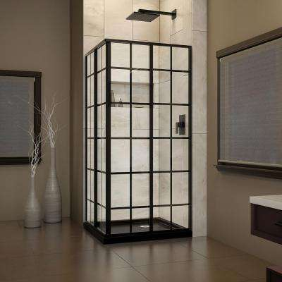 36 in. W x 36 in. D x 74.75 in. H Framed French Corner Shower Enclosure and Shower Base Kit in Satin Black