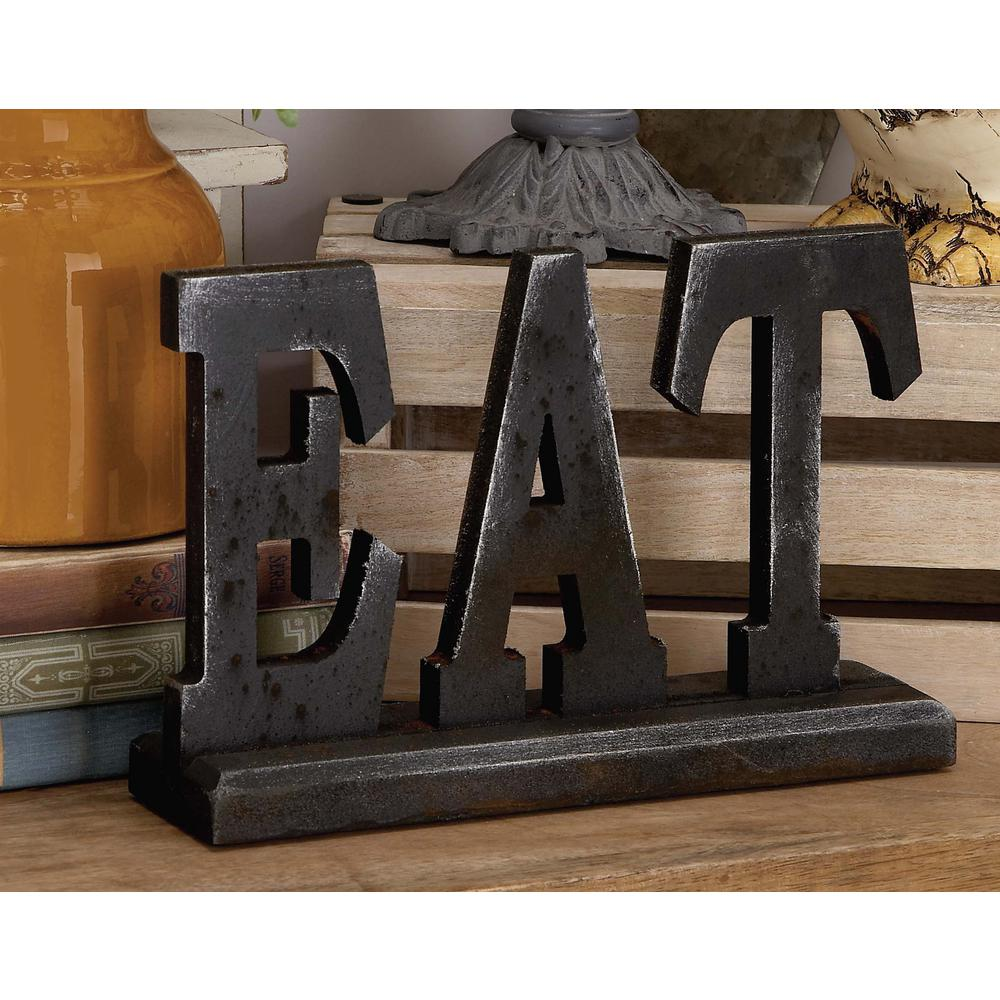 """12 in. x 8 in. Home and Hearth """"EAT"""" Wood Sign"""