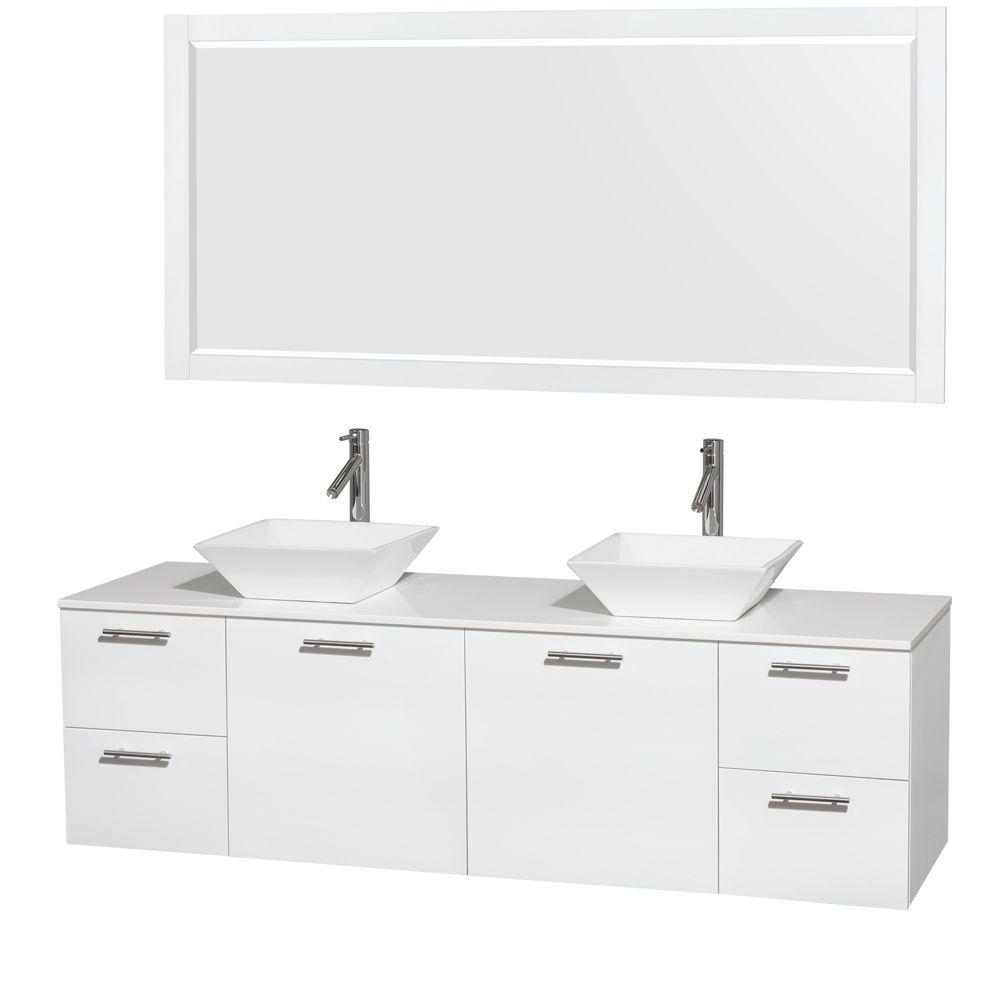 Amare 72 in. Double Vanity in Glossy White with Solid-Surface Vanity
