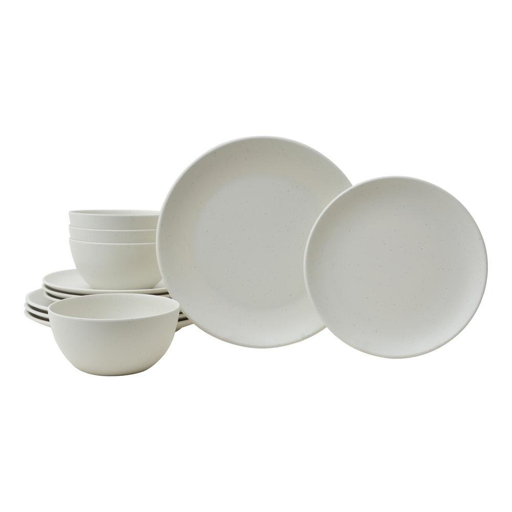Bryce 12-Piece Ivory Melamine Dinnerware Set