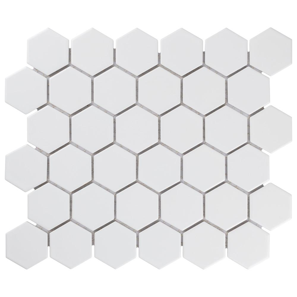 Merola Tile Metro Hex 2 in. Matte White 11-1/8 in. x 12-5/8 in. x 6 mm Porcelain Mosaic Tile (9.96 sq. ft. / case)