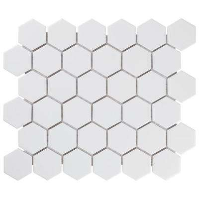 Metro Hex 2 in. Matte White 11-1/8 in. x 12-5/8 in. x 6 mm Porcelain Mosaic Tile (9.96 sq. ft. / case)