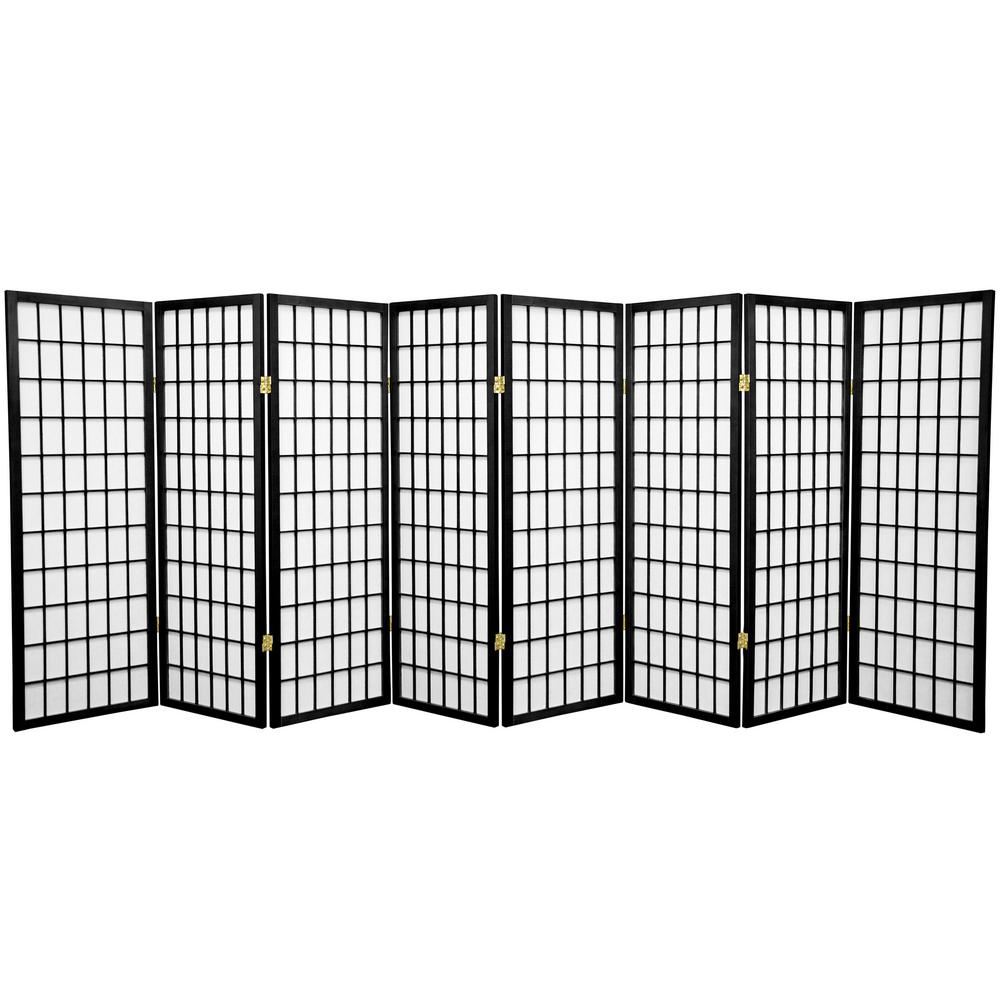 4 ft. Black 8-Panel Room Divider