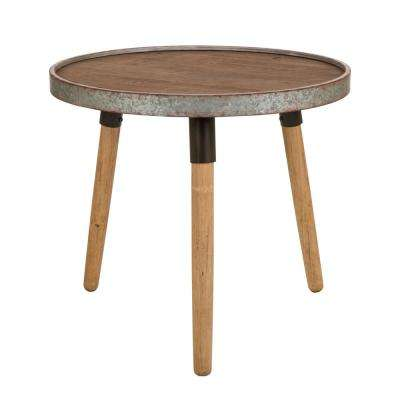 21.06 in. H Multi-Color Farmhouse Wood and Metal Table with Solid Wood Leg