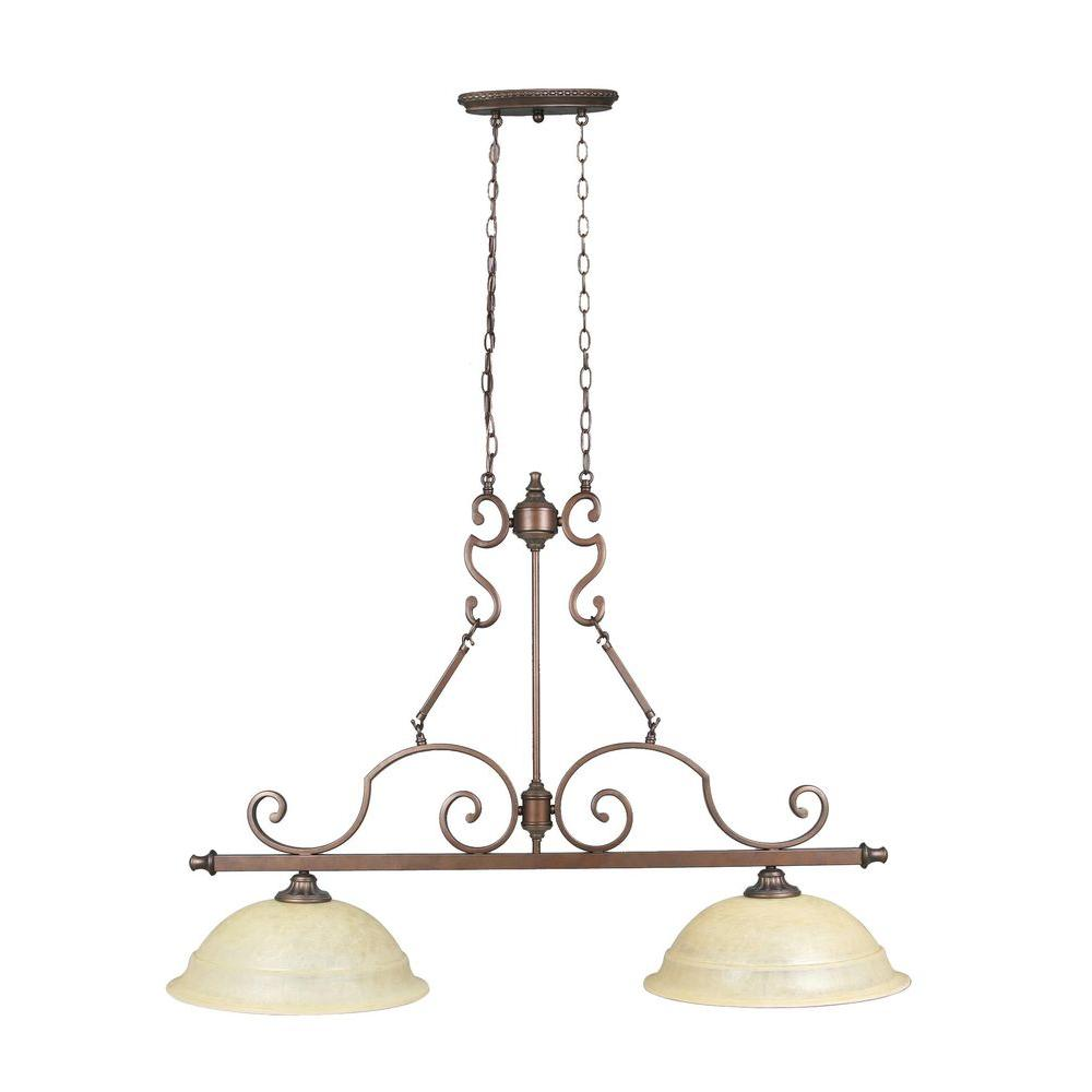 Home Decorators Collection Fairview 2-Light Heritage Bronze Ceiling Kitchen Island Light
