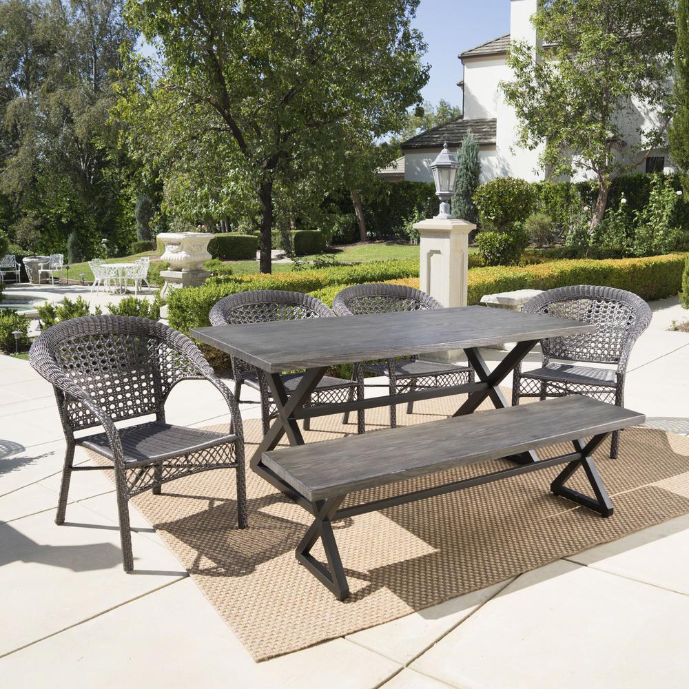 Kensington Grey 6-Piece Wicker Outdoor Dining Set