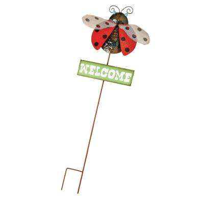 35 in. Metal Lady Bug Garden Stake With Green Welcome Sign