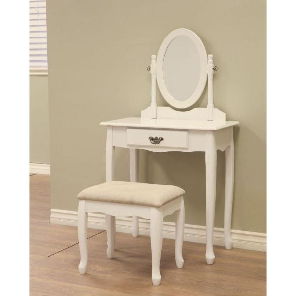 Homecraft Furniture 3-Piece White Vanity Set H-7-WH