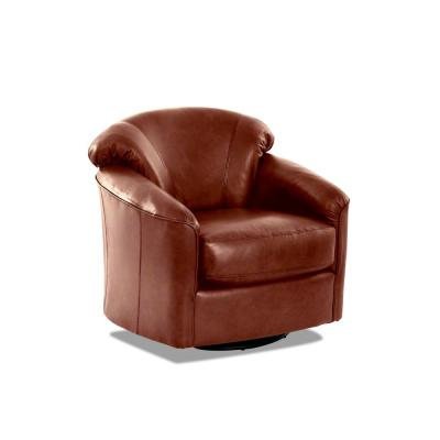 Charley Leather Swivel Gliding Chestnut Accent Chair