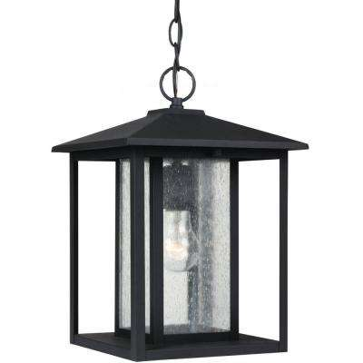 Hunnington 1-Light Outdoor Black Hanging Pendant Fixture