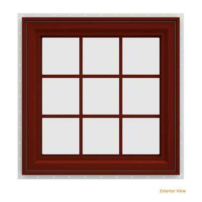 29.5 in. x 29.5 in. V-4500 Series Red Painted Vinyl Right-Handed Casement Window with Colonial Grids/Grilles