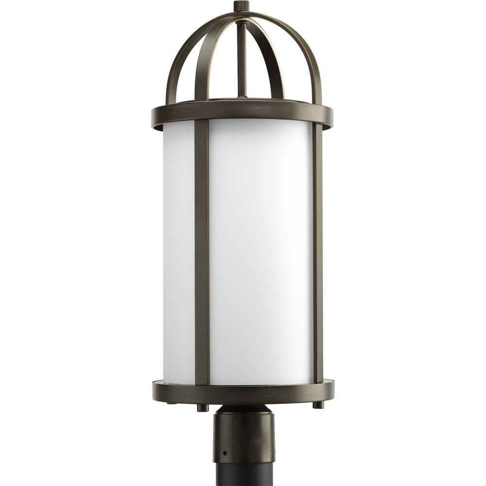 Progress Lighting Greetings Collection 1-Light Antique Bronze Outdoor Post Lantern