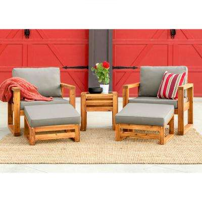 Brown, 5-Piece, Outdoor Wood Patio Conversation Set with Gray Cushions