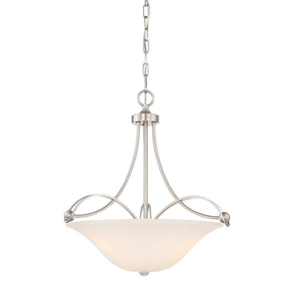 Home Decorators Collection 3 Light Brushed Nickel Pendant 17403 The Home Depot