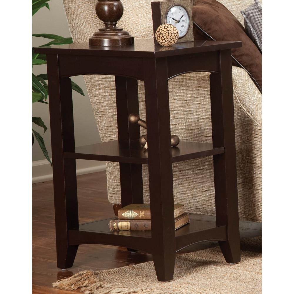 Alaterre Furniture Shaker Cottage Chocolate Storage End Table