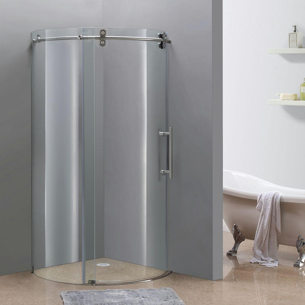 Aston Orbitus 40 In X 75 Completely Frameless Round Shower Enclosure Stainless Steel With Right Opening