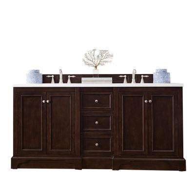De Soto 72 in. W Double Vanity in Burnished Mahogany with Marble Vanity Top in Carrara White with White Basin