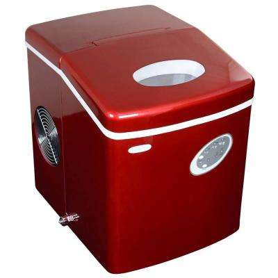 28 lb. Freestanding Ice Maker in Red