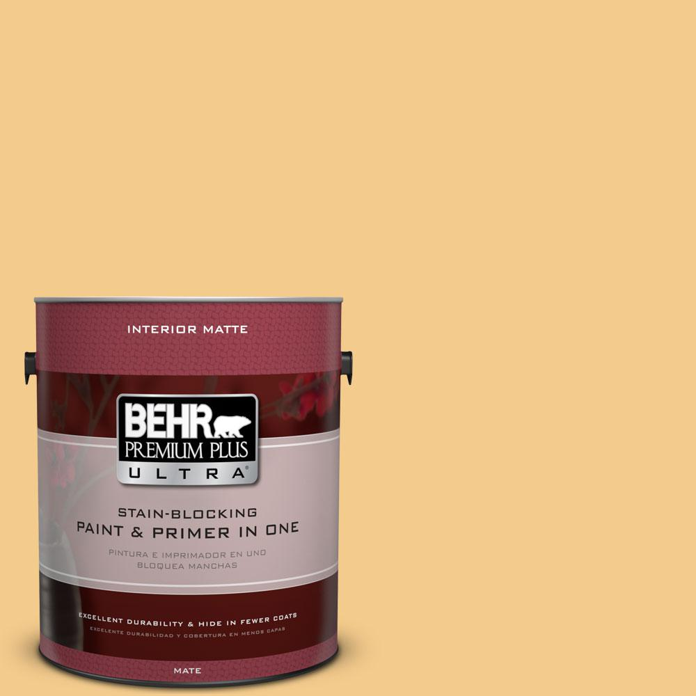 BEHR Premium Plus Ultra Home Decorators Collection 1 gal. #HDC-CL-16 Beacon Yellow Flat/Matte Interior Paint