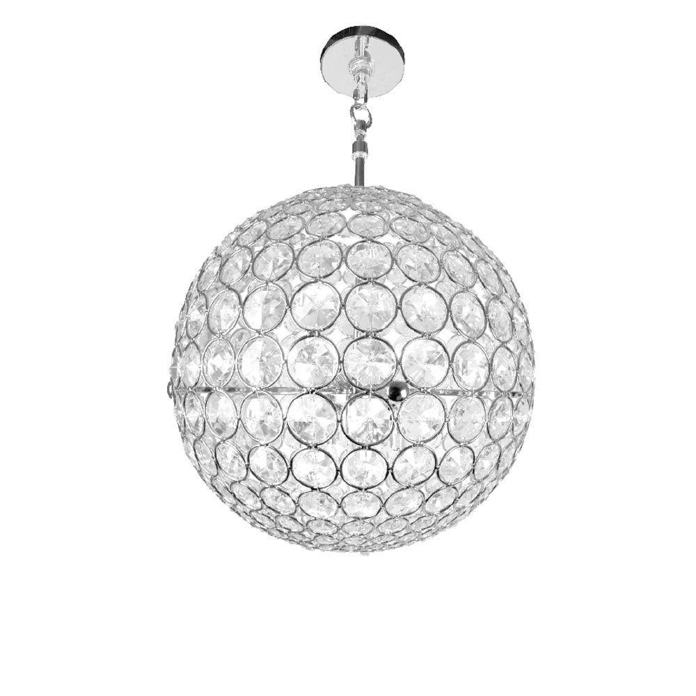 Checkolite Crystal Sphere 3 Light Chrome Hanging Chandelier