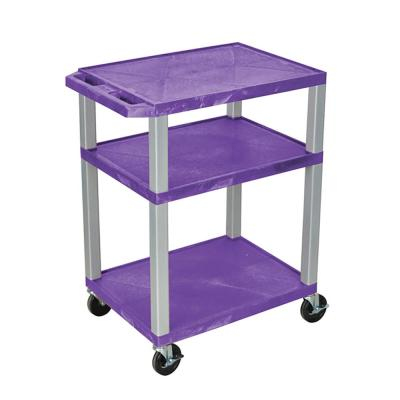 34 A/V 18 in. X 24 in. Cart - 3-Shelves With Electric - Purple Shelves With Nickel Legs