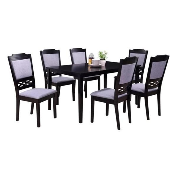 Oakland Living Indoor Black And Grey European 7 Piece Dining Set With A Solid Rectangular