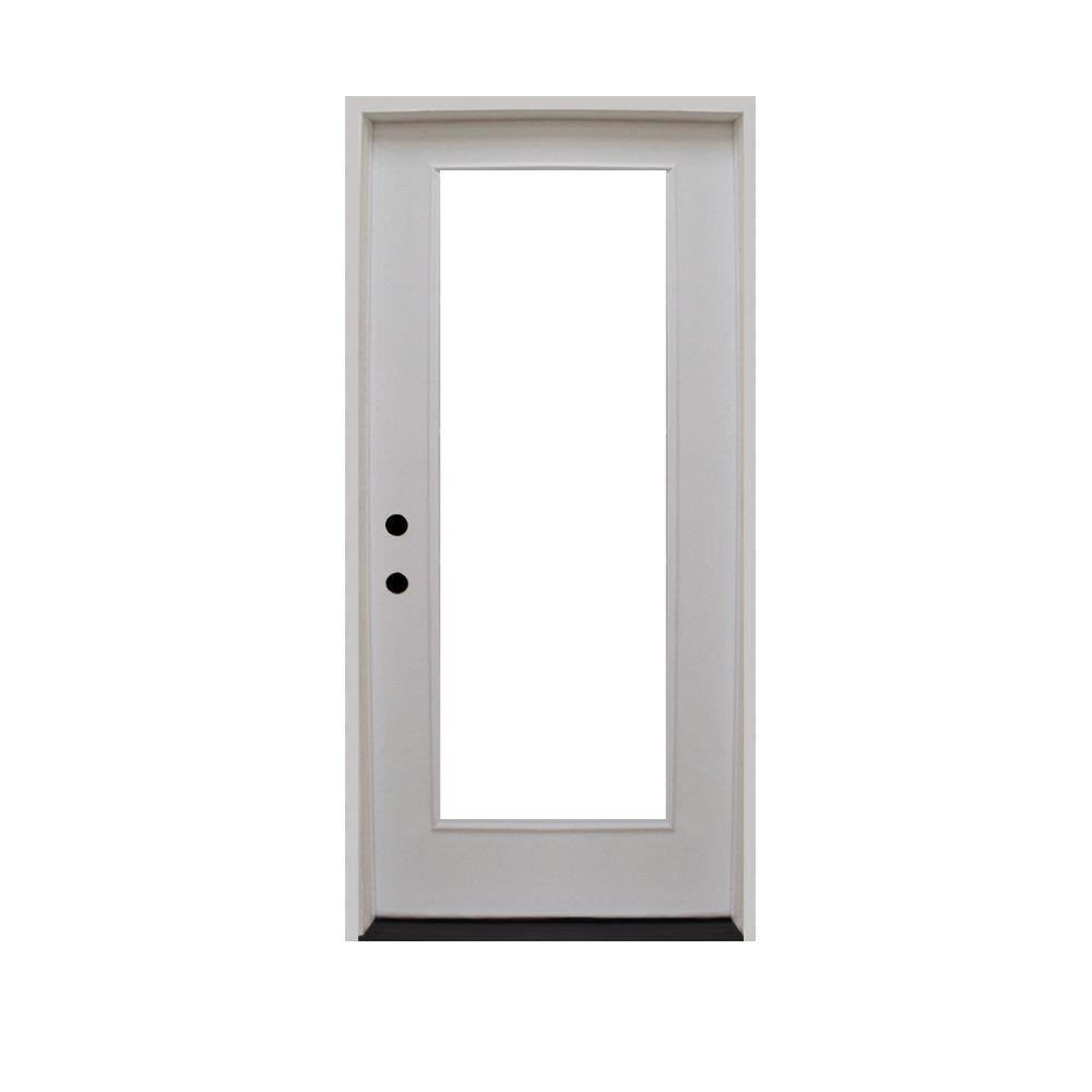 Steves & Sons 28 in. x 80 in. Premium Full Lite Primed White Fiberglass Prehung Front Door