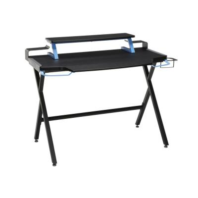 42 in. Rectangular Blue Computer Desk with Shelf