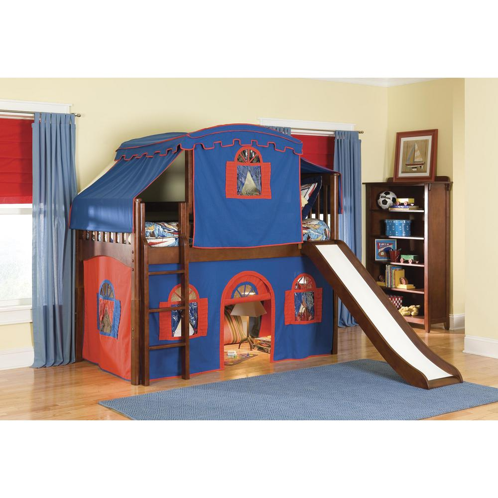 Mission Cherry Twin Low Loft Bed With Blue And Red Top Tent Bottom