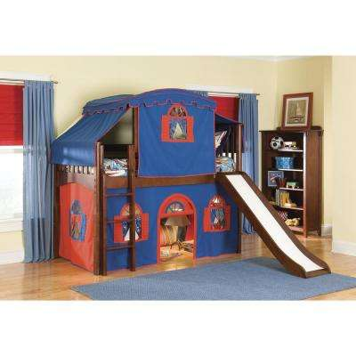 Mission Cherry Twin Low Loft Bed with Blue and Red Top Tent, Bottom Playhouse Curtain and Slide