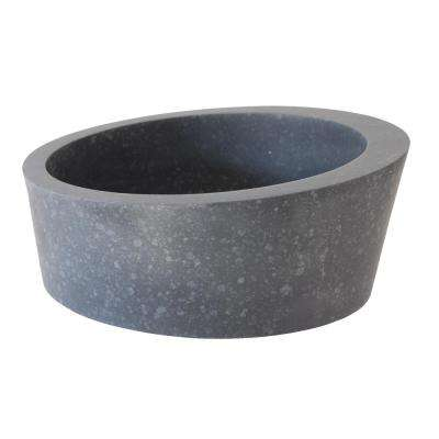 Arched Ellipse Vessel Sink in Honed Black Basalt