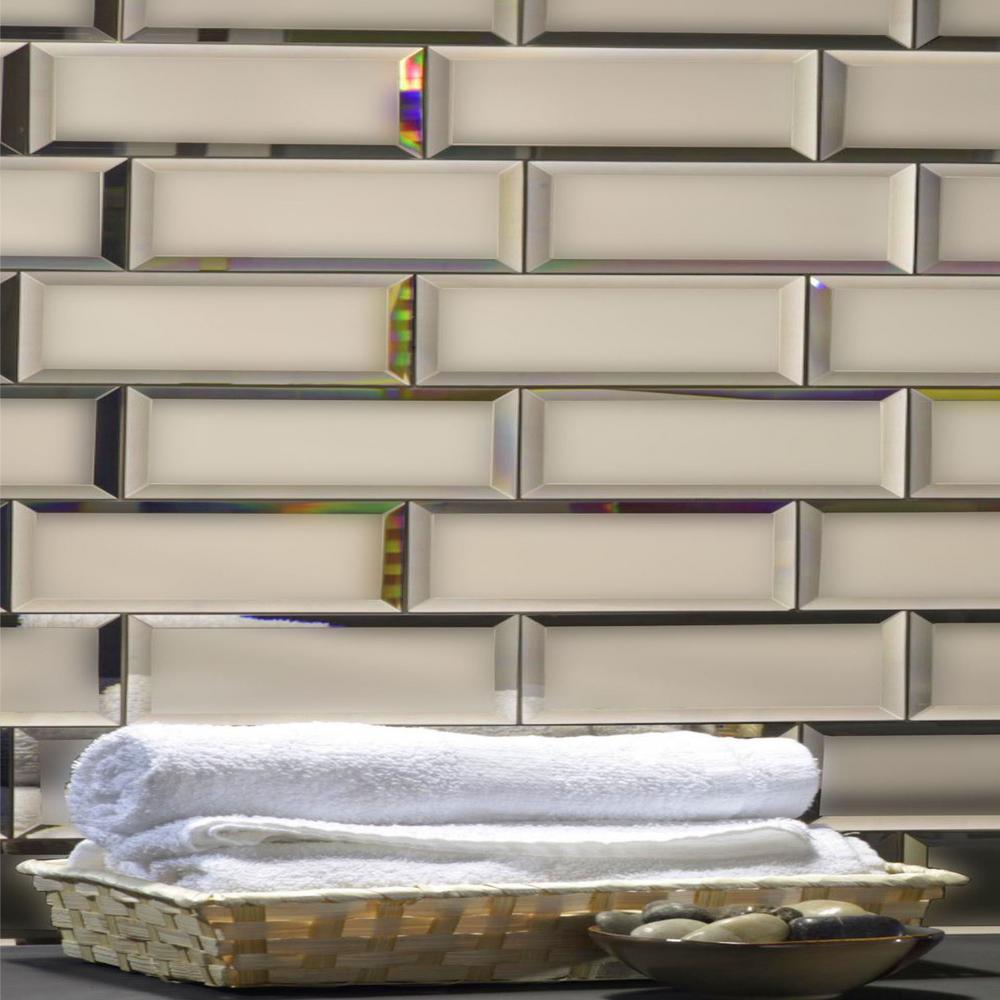 "Subway 3"" x 12"" Rectangle Gold Beveled Matte Glass Mirror Peel & Stick Decorative Bathroom Wall Tile Backsplash (4-Pack)"