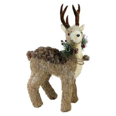 16 in. Sparkling Reindeer Wearing Frosted Wreath Christmas Decoration