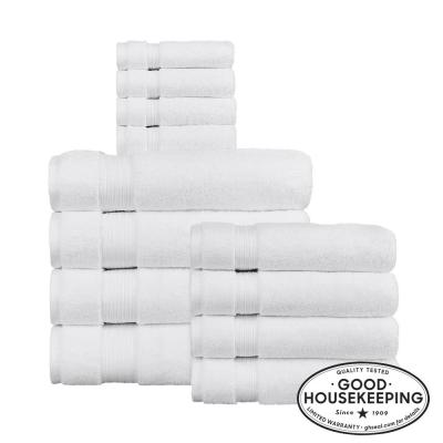 Egyptian Cotton 12-Piece Towel Set in White