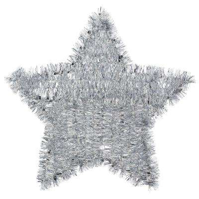 11.5 in. x 12 in. Silver Tinsel Star Decoration (6-Pack)