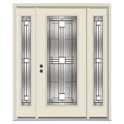 Cordova Full-Lite Primed Steel Prehung Front Door with 14 in. Side-Lites and Nickel Caming