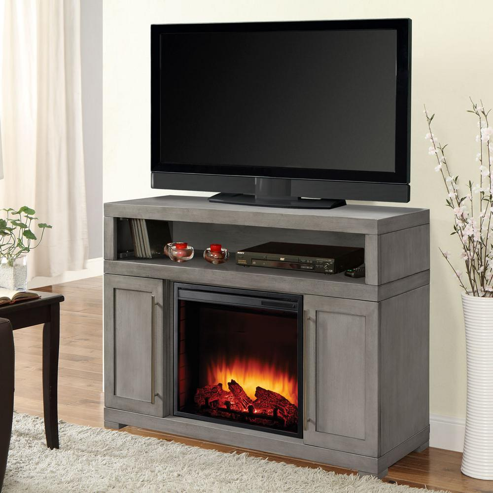 Media Electric Fireplace In Light Weathered Gray