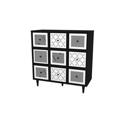 Theo Black and White 3-Drawer Chest