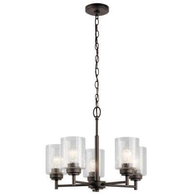 Winslow 5-Light Olde Bronze Chandelier with Clear Seeded Glass Shade