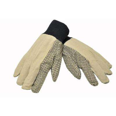 Men Large 12 oz. Cotton Canvas Work Gloves Coated with PVC Dots on Palm and Index Finger