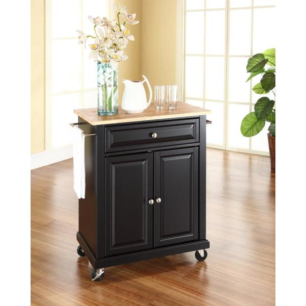 Crosley Black Kitchen Cart With Natural Wood Top KF30021EBK
