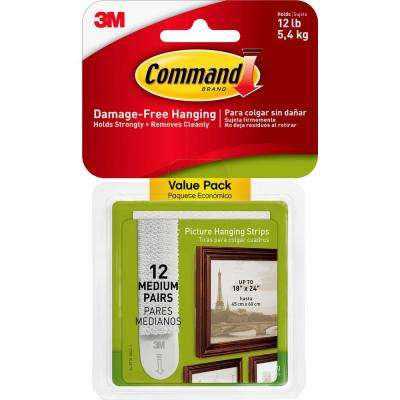 3 Lb Medium White Picture Hanging Adhesive Strips 12 Sets Of