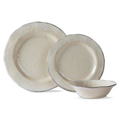 Lanai Melamine Tan Dinnerware Set (12-Pack)