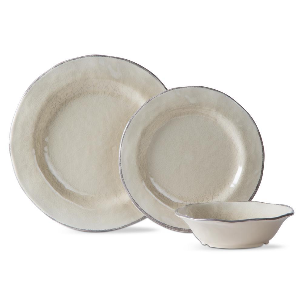 Lanai Melamine Tan Dinnerware Set (12-Pack)