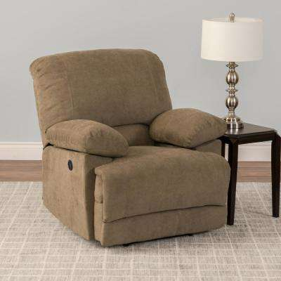 Lea Brown Chenille Fabric Power Recliner with USB Port