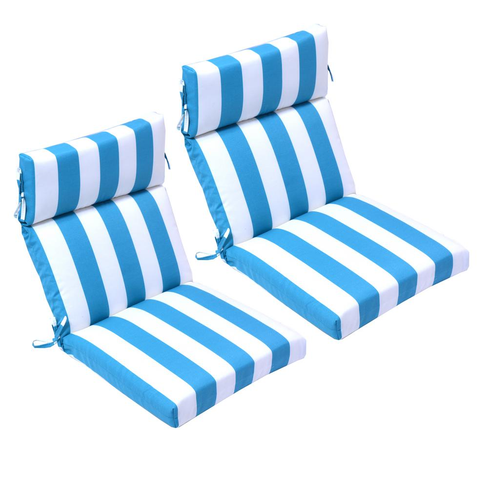 21.5 in. x 44 in. Turquoise Cabana Outdoor High Back ...