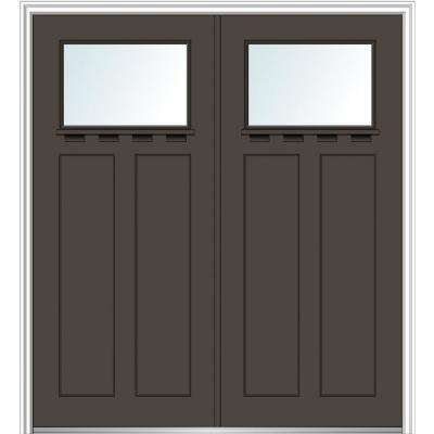 64 in. x 80 in. Shaker Left-Hand Inswing 1-Lite Clear Low-E Painted Fiberglass Smooth Prehung Front Door with Shelf