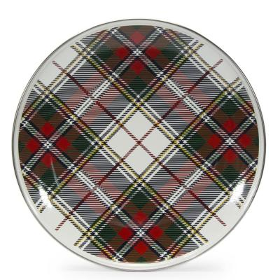 12.5 in. Highland Plaid Enamelware Round Charger Plate Set of 2