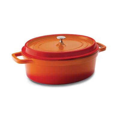 3.3 qt. Oval Cast Aluminum Nonstick Dutch Oven in Orange with Lid