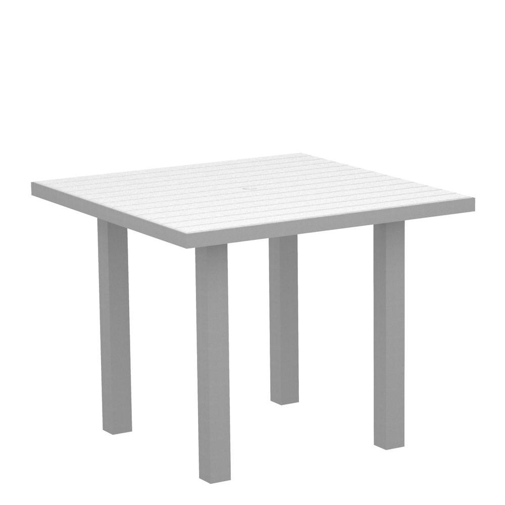 Euro Textured 36 in. Silver Square Patio Dining Table with White
